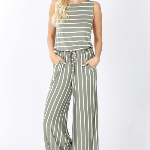 Stripe Sleeveless Capri Jumpsuit