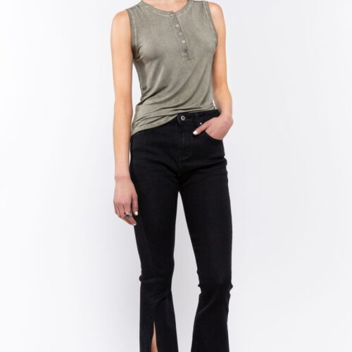 Mid Rise Semi Flare Denim with Side Slit on Hem Front