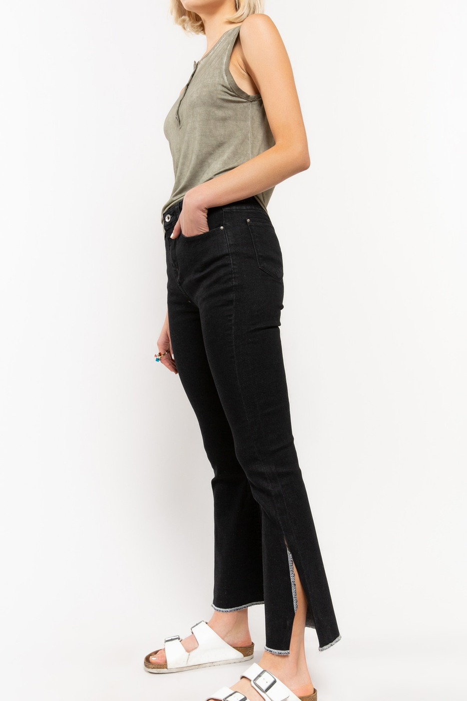Mid Rise Semi Flare Denim with Side Slit on Hem Side