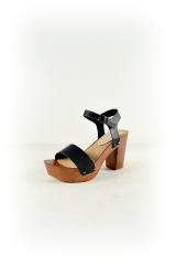 Faux Leather Lightweight Wood Heels Left Front