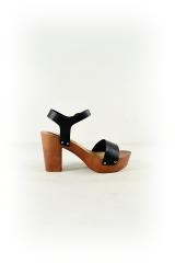 Faux Leather Lightweight Wood Heels Right Side