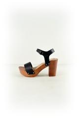 Faux Leather Lightweight Wood Heels Left Side