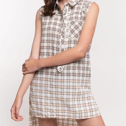 High Low Bottom Dip Sleeveless Plaid Shirt Front