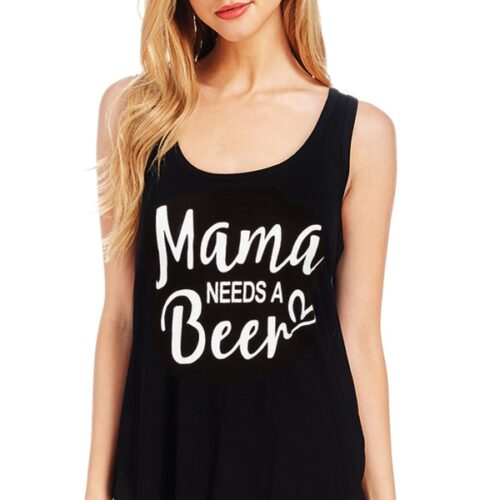 """Mama Needs a Beer"" Tank Top Front"