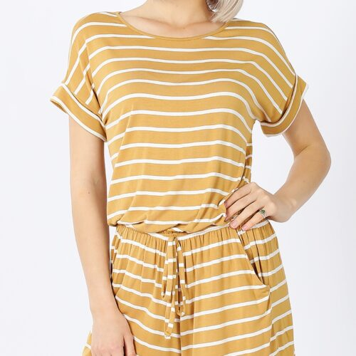 Stripe Romper with Elastic Waist and Back Keyhole Opening