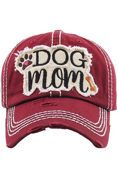 """DOG MOM"" Cotton Hat Burgundy"