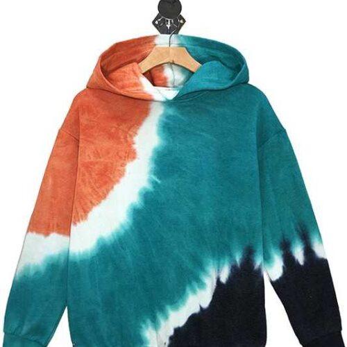 Tie Dye Fleece Hoodie Multi Front
