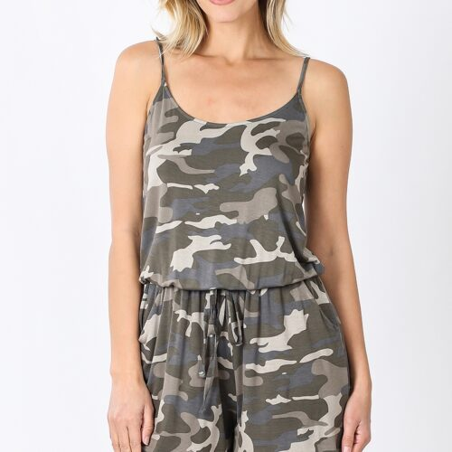 Camouflage Spaghetti Strap Romper with Pocket Front