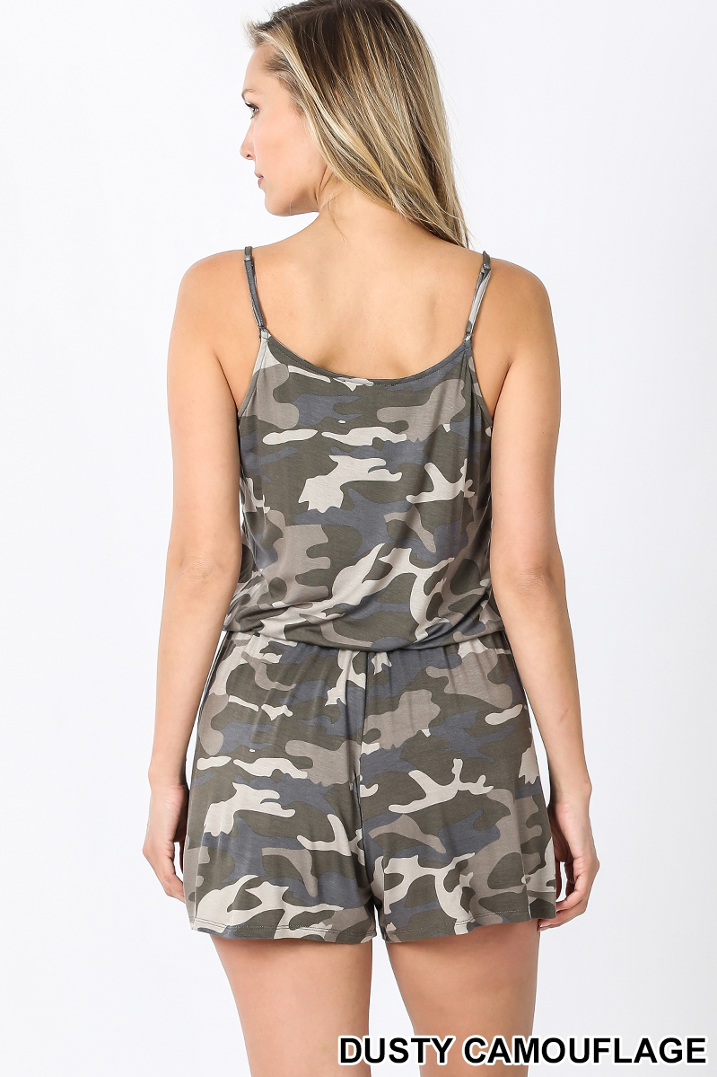 Camouflage Spaghetti Strap Romper with Pocket Back