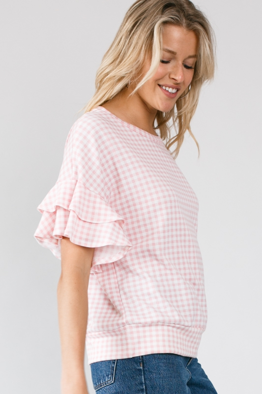 Checker Print Double Ruffle Short Sleeve Round Neck Top Side