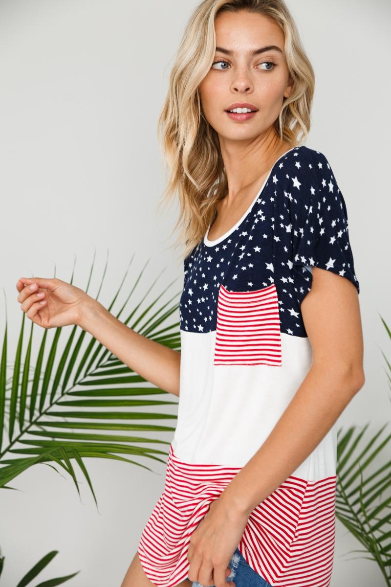 American Flag Pocket Detail Short Sleeve Top Side