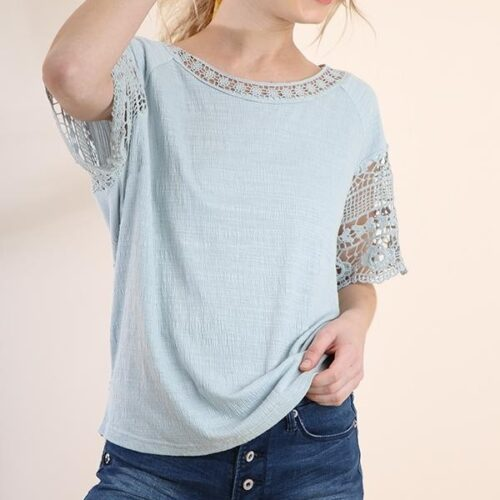 Short Sleeve Crochet Top with Solid Front Body and Scoop Back Hem Front