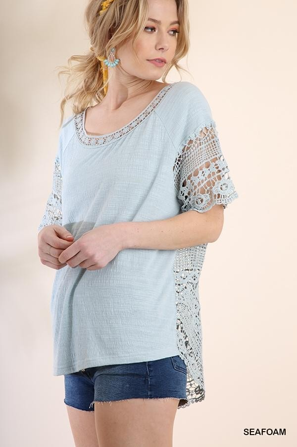 Short Sleeve Crochet Top with Solid Front Body and Scoop Back Hem Side