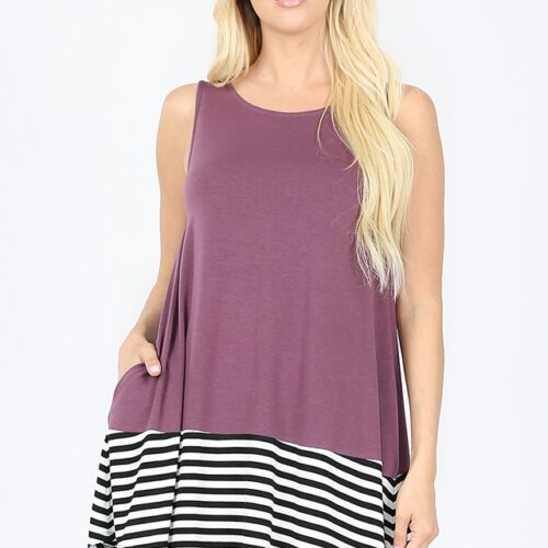 Striped and Solid Sleeveless Round Neck Top with Side Pockets Eggplant