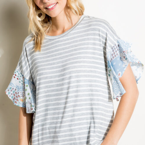 Stripe Jersey and Woven Paisley Print Round Neck Ruffle Short Sleeve Top Front