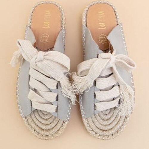 Lace Tied Espadrille Platform Sandals