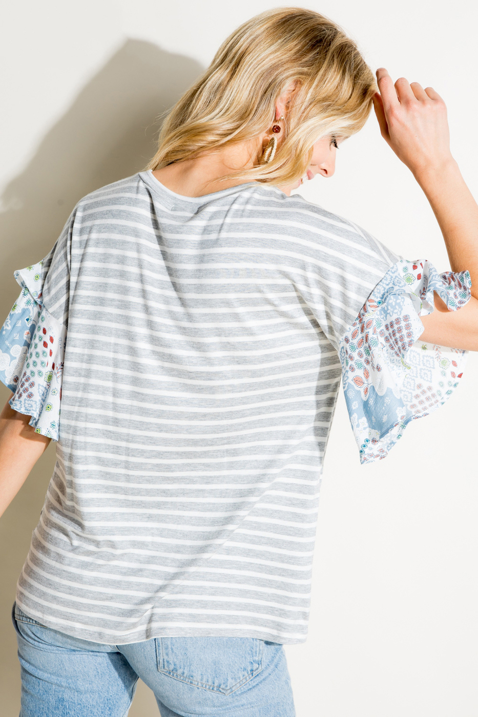 Stripe Jersey and Woven Paisley Print Round Neck Ruffle Short Sleeve Top Back