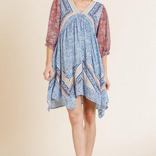 Paisley Scarf Print 3/4 Puff Sleeve V-Neck Dress with Asymmetrical Sharkbite Hem Front