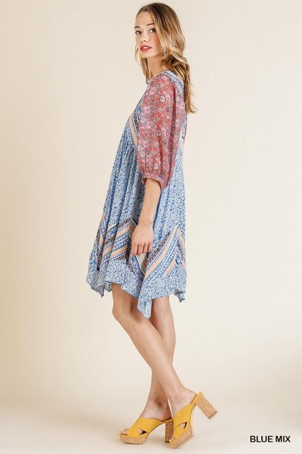 Paisley Scarf Print 3/4 Puff Sleeve V-Neck Dress with Asymmetrical Sharkbite Hem Side
