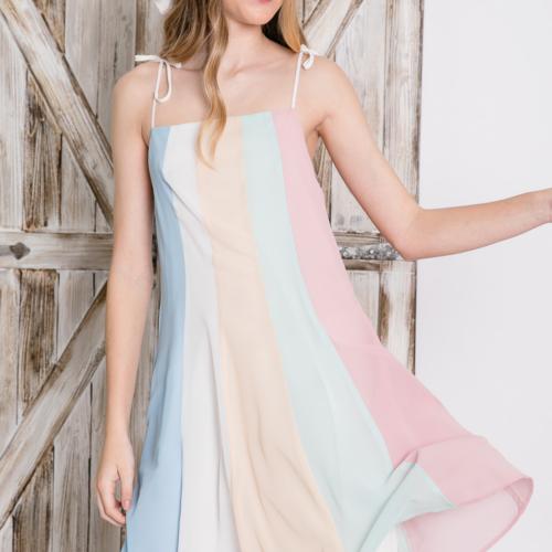 Stripe Print Straight Neckline Draped Goddess Cami Mini Dress Front