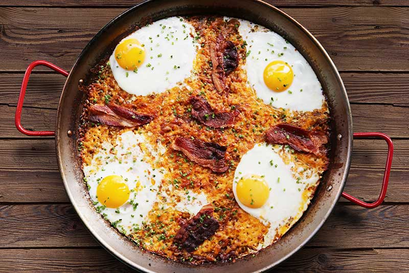 Bacon, Egg and Cheese Paella for Brunch