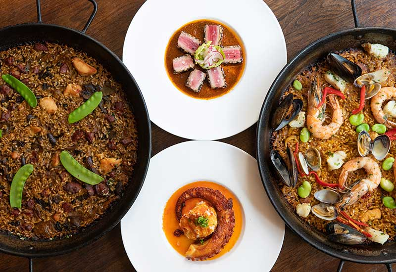 Catering menu with the best Spanish tapas and paellas