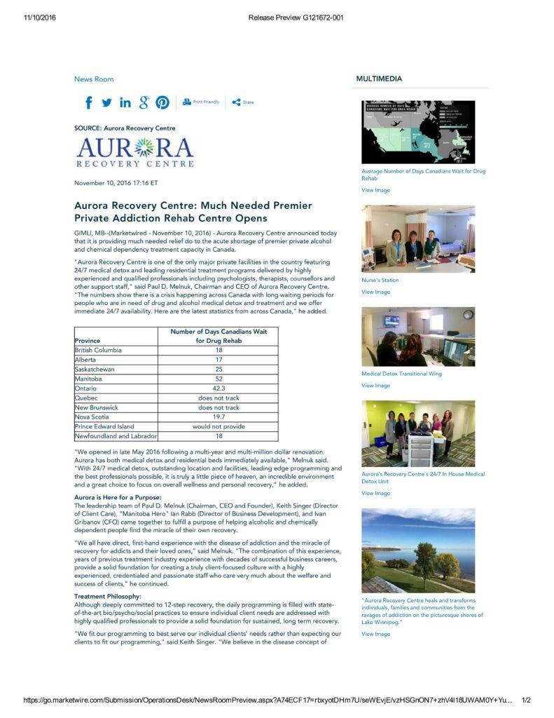 Aurora actual press release
