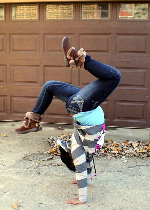 girl tumbling