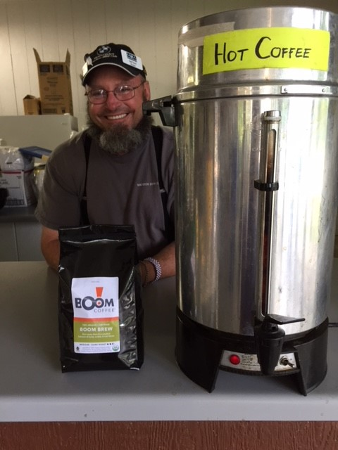 Sam brewing Boom coffee at the GR3