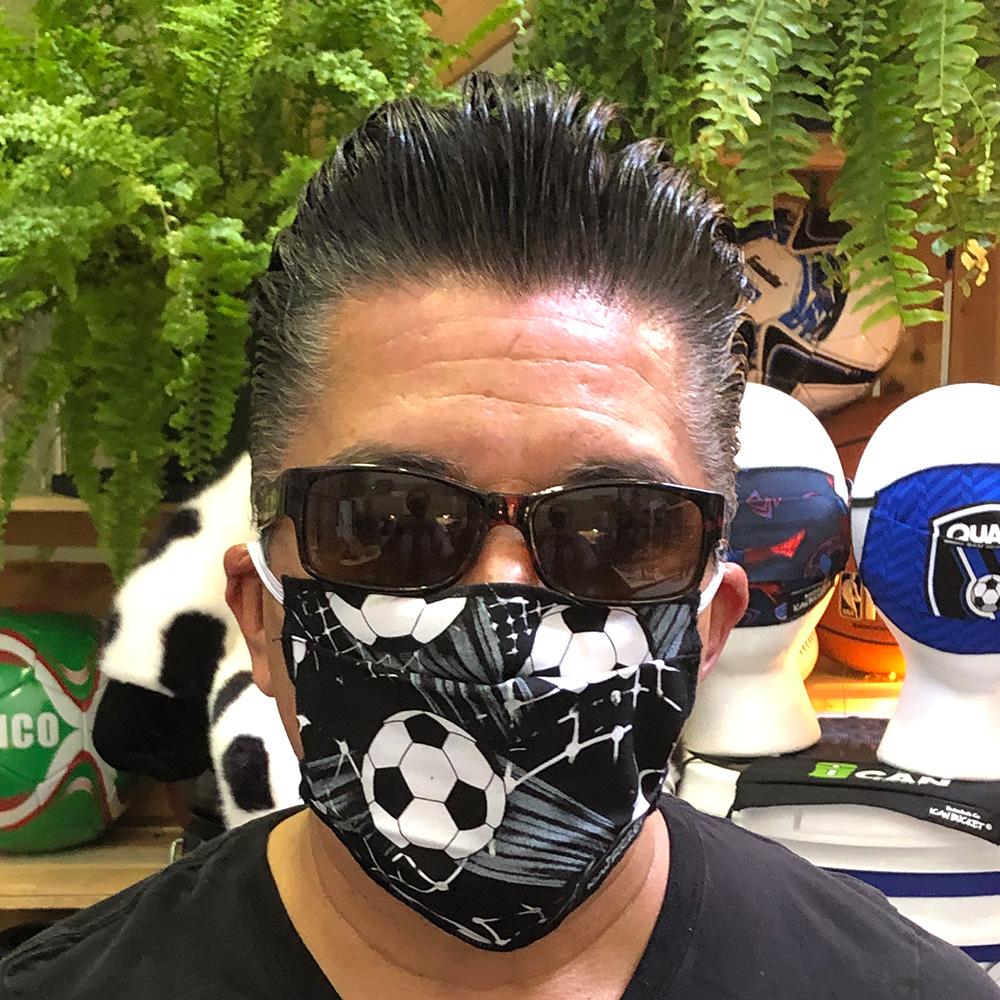 Black Grey Soccer- Face Mask