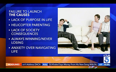 Failure To Launch causes lack of purpose, helicopter parenting, lack of society consequences, always winning, never losing, anxiety over navigating life.