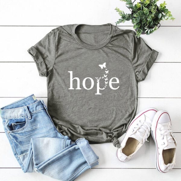 Grey short sleeved t-shirt with the graphic printed hope and butterflies