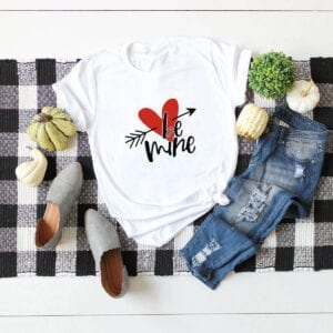 be mine t-shirt with a heart for valentine's day