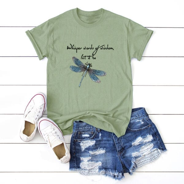 dragonfly whisper words of wisdom t-shirt