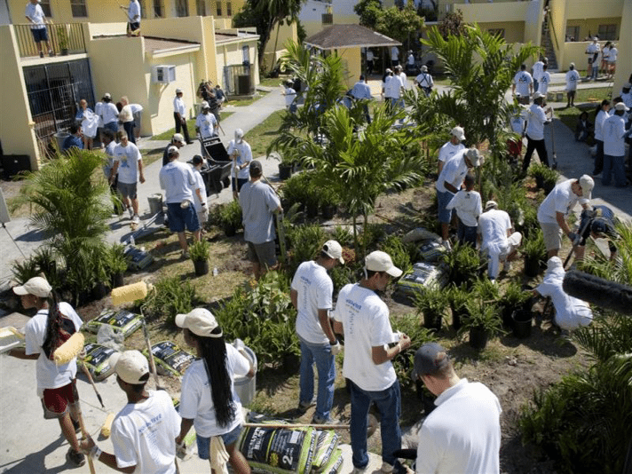 """Participation in another """"Give Day"""" providing landscaping in a community project"""