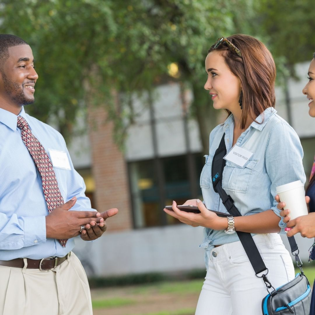 Admission officer and student talking