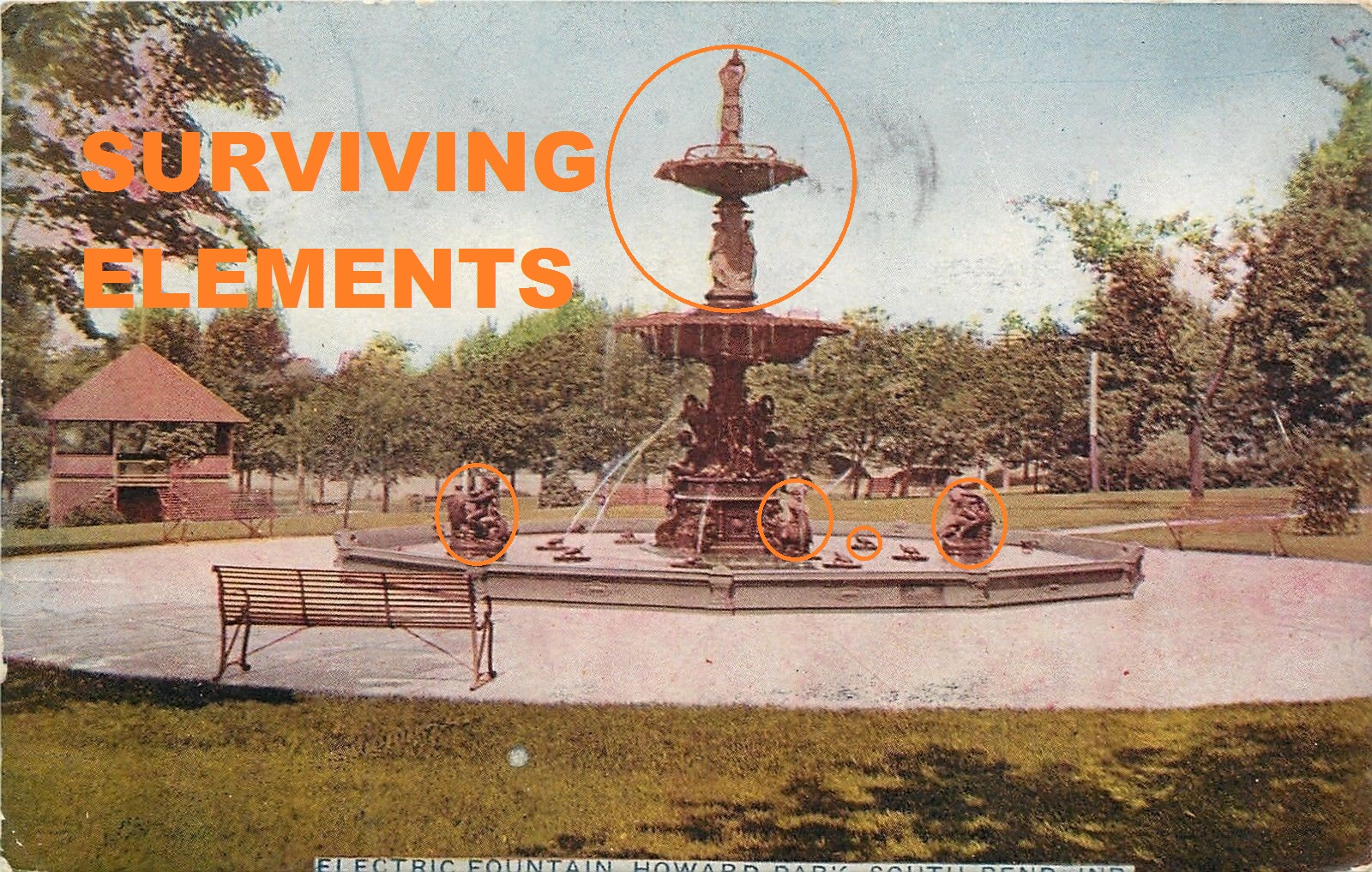 Vintage postcard of Studebaker Electric Fountain