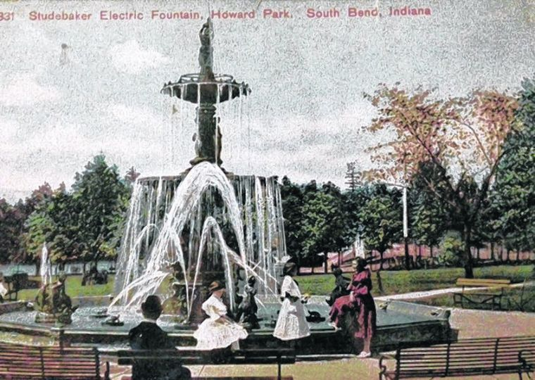 Vintage postcard of people visiting Studebaker Fountain in Howard Park