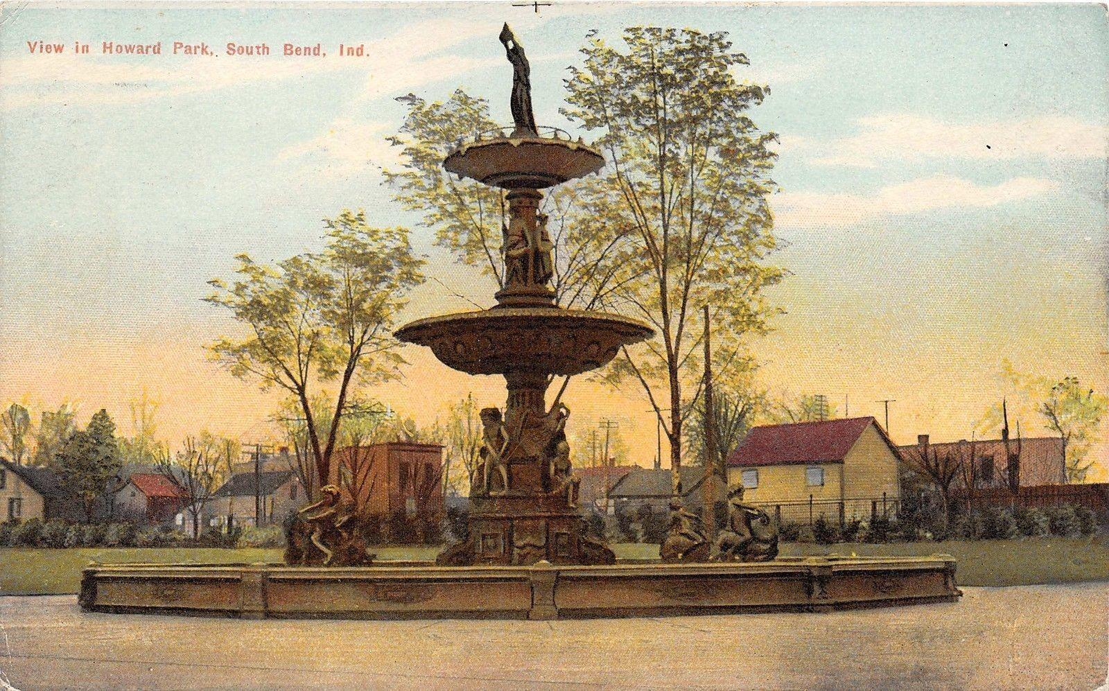 Postcard of Studebaker Fountain in Howard Park