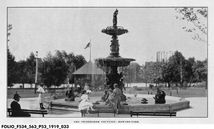 Black & White Postcard of Studebaker Fountain in Howard Park