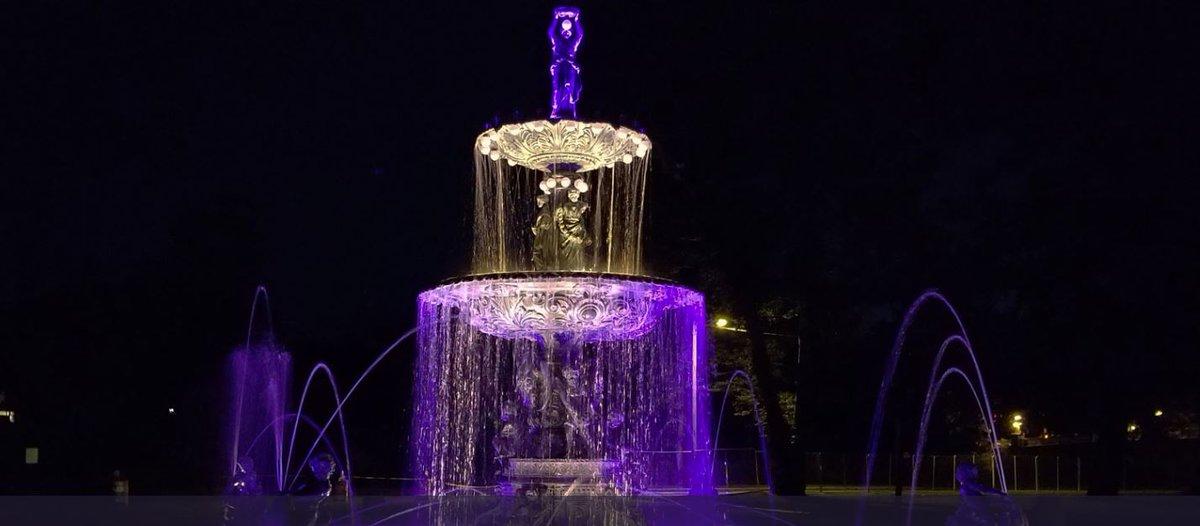 Studebaker-Fountain at Night
