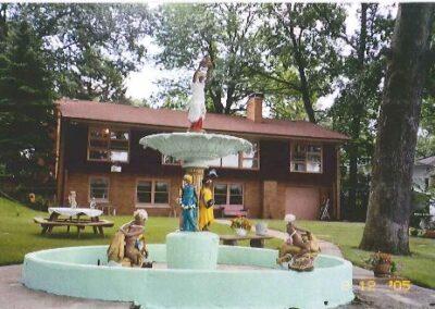 Saved original pieces of Studebaker Fountain, Seiler's backyard