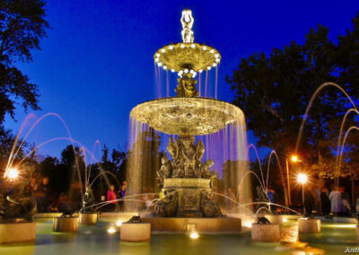 Studebaker Fountain at Sunset by Justin Hicks