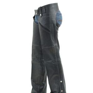 Women Black Leather Chaps
