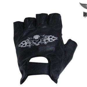 Motorcycle Fingerless Gloves With Skull & Crossbones in Flames