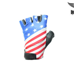 Leather Motorcycle Fingerless Gloves with USA Flag