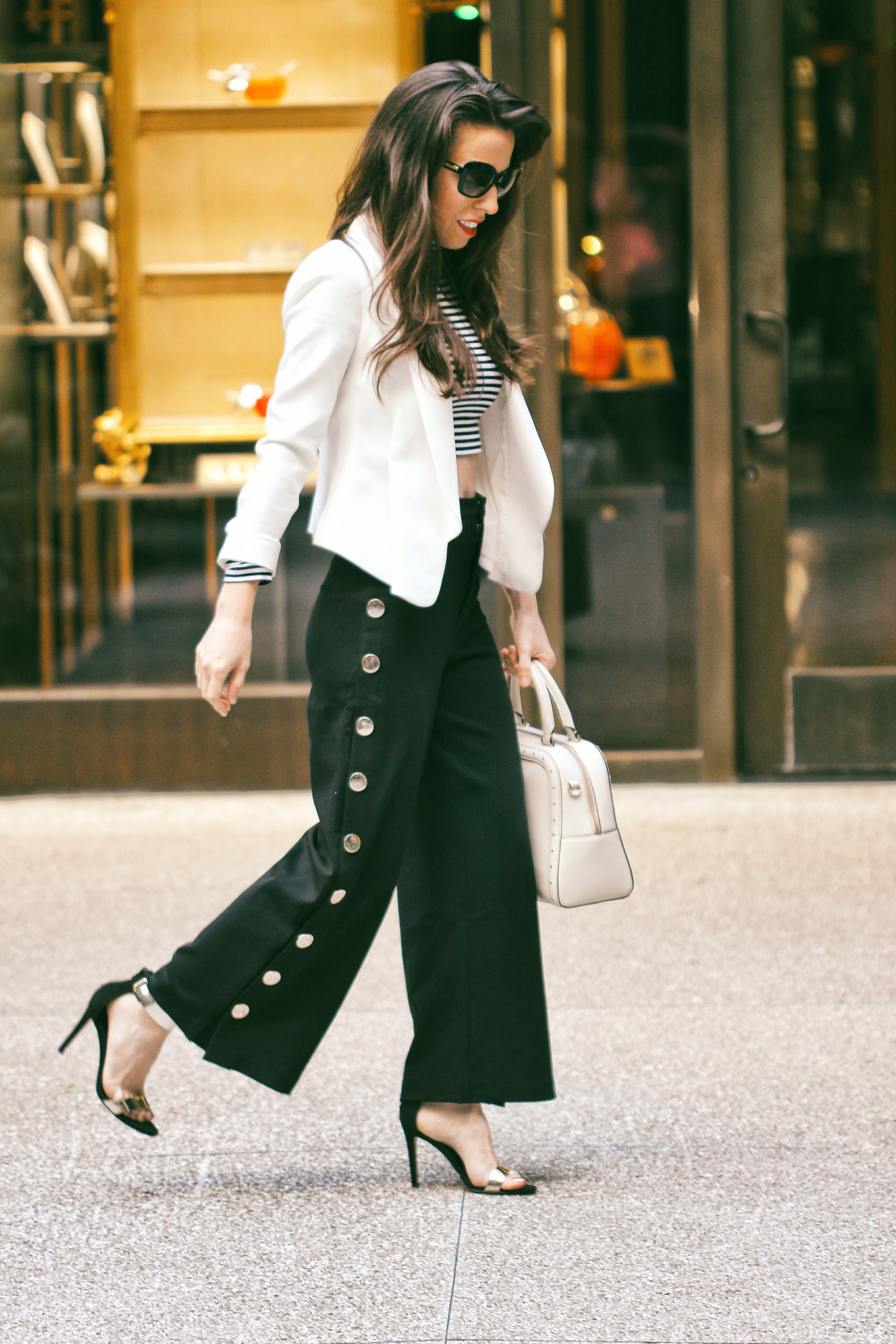 anaflorentyna wide leg pants with buttons