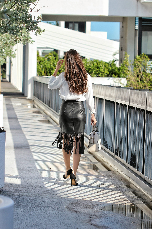 faux leather fringe skirt miami blogger ana florentina