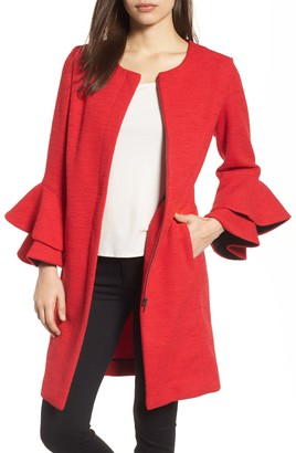 red coat flutted sleeve