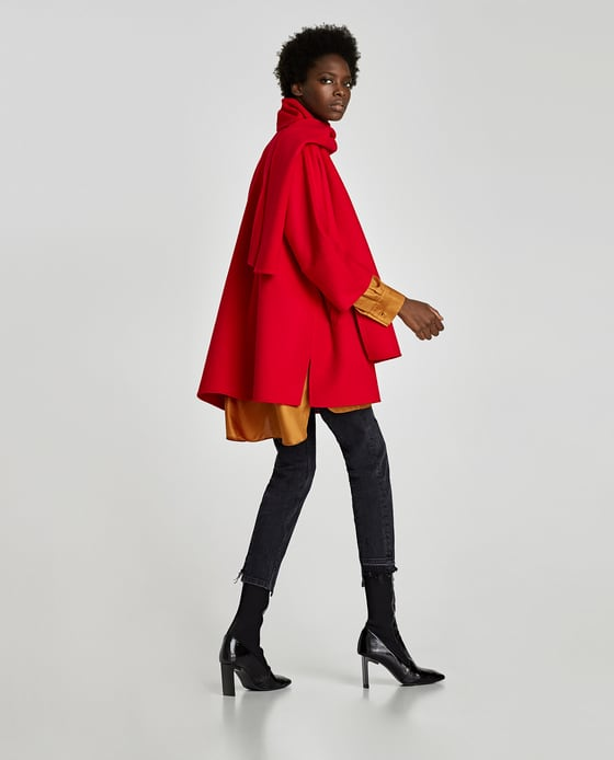 zara red coat with drapped collar